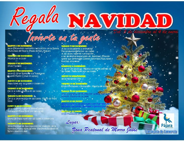Pájara dinamiza las calles comerciales de Morro Jable con un pasacalles, sorteos y otras actividades navideñas