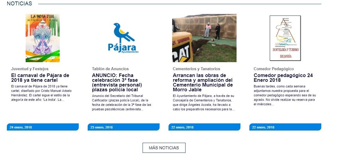 El Ayuntamiento de Pájara renueva su página web