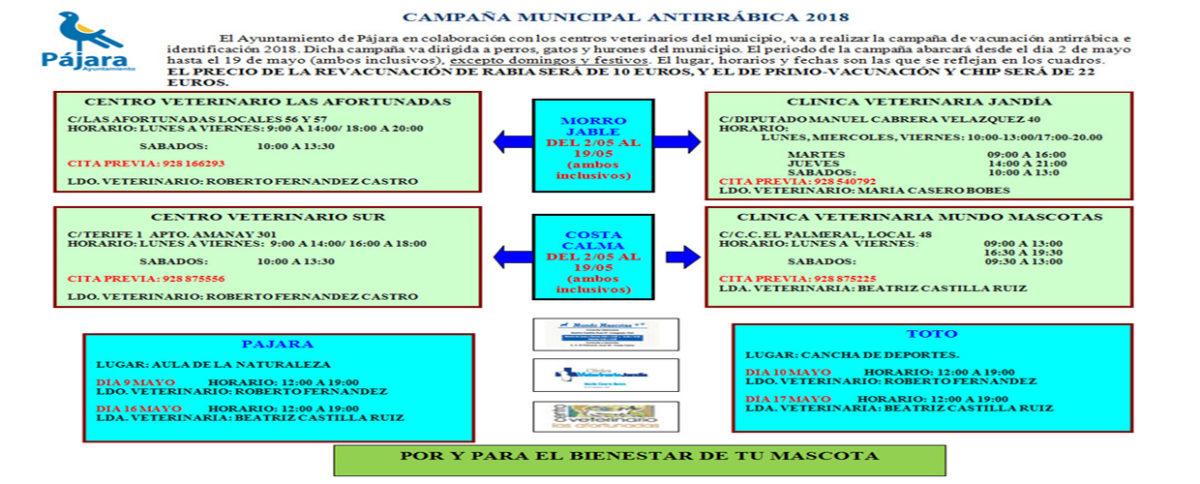 El Ayuntamiento de Pájara realizará la campaña antirrábica de 2018 en colaboración con las clínicas veterinarias del municipio
