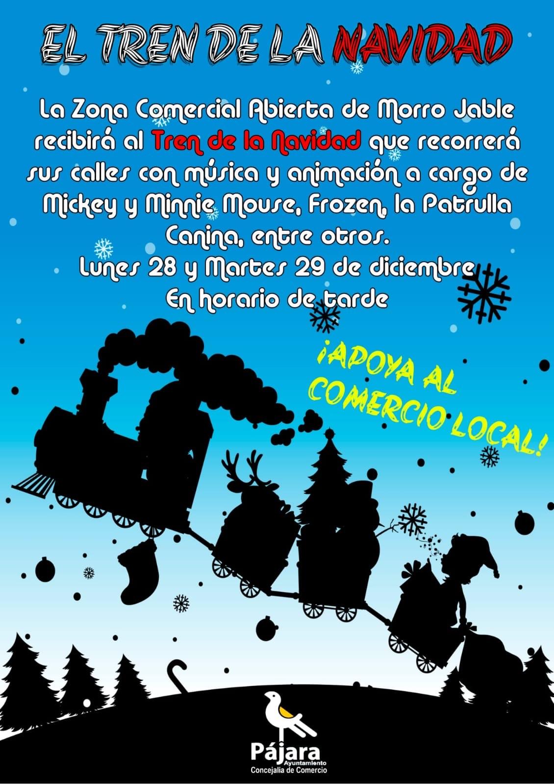 La Zona Comercial Abierta (ZCA) de Morro Jable recibirá durante las tardes de este lunes, 28 de diciembre, y del martes , 29 de diciembre, el Tren de la Navidad.