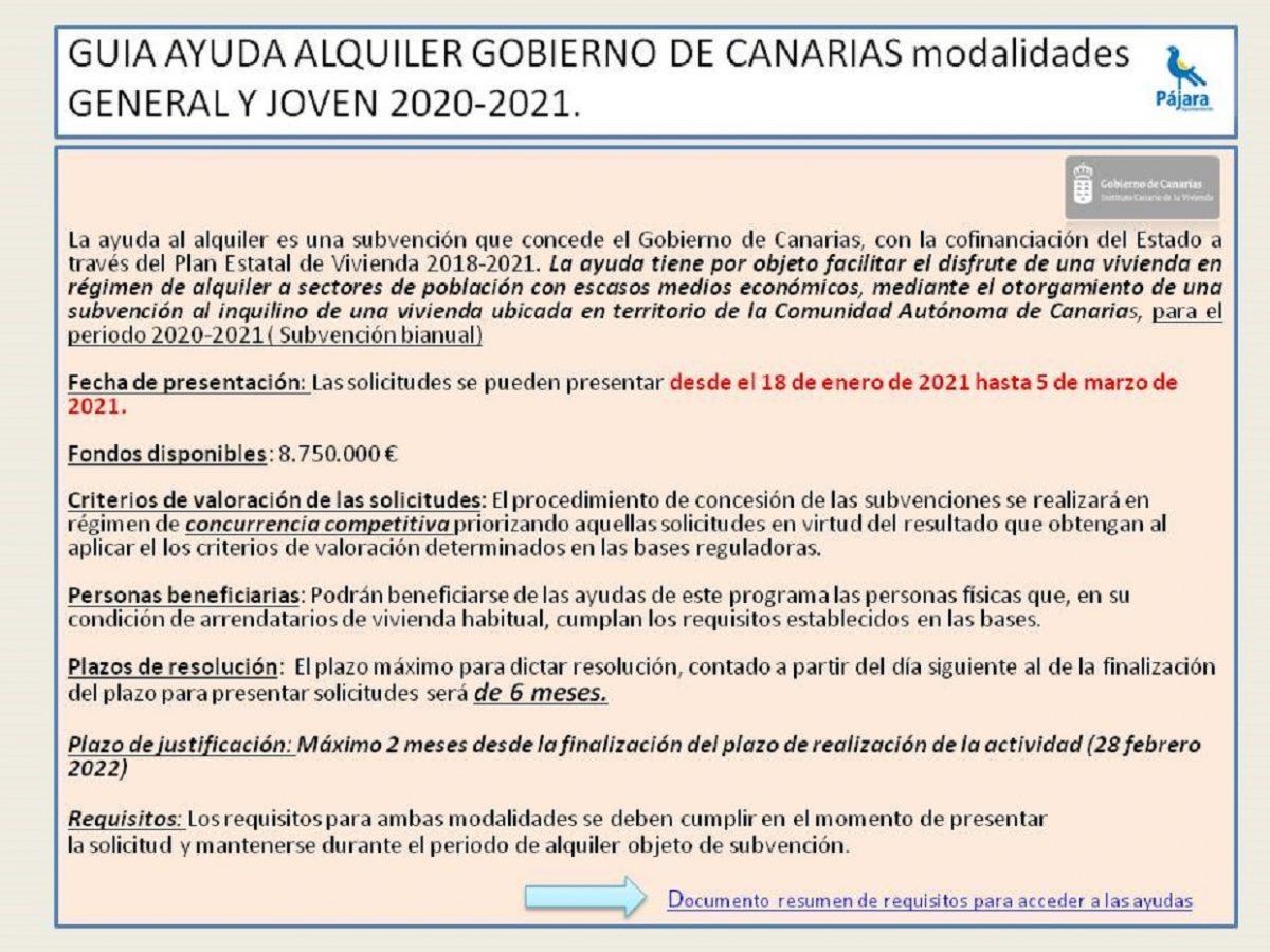 Guía ayuda alquiler del Gobierno de Canarias modalidades general y joven 2020-2021