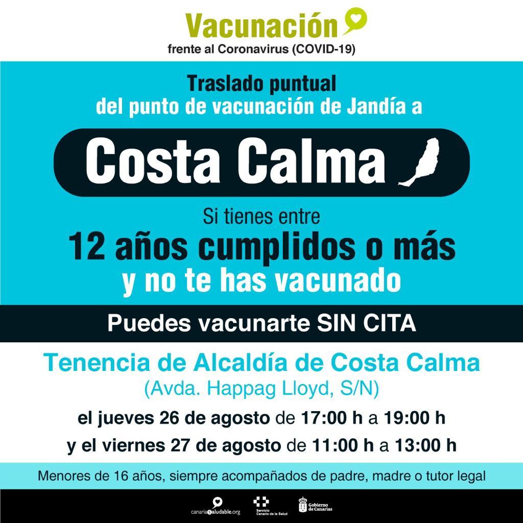 Costa Calma acoge el punto de vacunación sin cita previa para mayores de 12 años