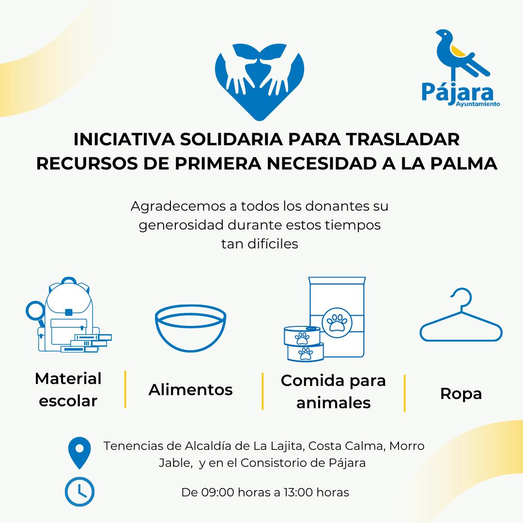 El Ayuntamiento de Pájara pone en marcha una iniciativa solidaria para trasladar recursos de primera necesidad a La Palma